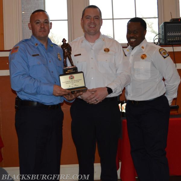 JERRY PERA RECEIVING FIREMAN OF THE YEAR